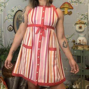 Vintage 60s candy stripe babydoll mini dress